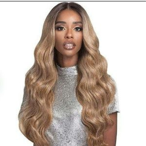 Net human hair blend Swiss lace front wig